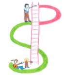 logo service soutien parentalité S en vert et P en rose relié par une échelle avec des parents et enfants dessinés